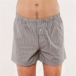 Web Boxer-Shorts, grau gestreift, L